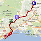 The map with the race route of the thirteenth stage of the Tour de France 2012 on Google Maps