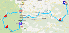 The map with the race route of the fourteenth stage of the Tour de France 2012 on Google Maps