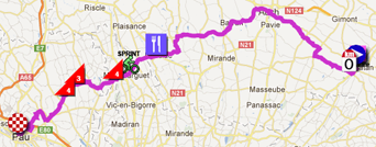 The map with the race route of the fifteenth stage of the Tour de France 2012 on Google Maps