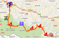 The map with the race route of the sixteenth stage of the Tour de France 2012 on Google Maps