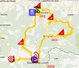 The map with the race route of the seventeenth stage of the Tour de France 2012 on Google Maps