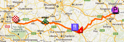 The map with the race route of the second stage of the Tour de France 2012 on Google Maps
