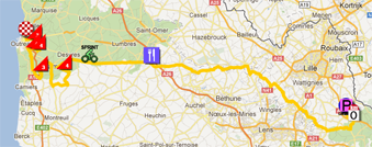 The map with the race route of the third stage of the Tour de France 2012 on Google Maps