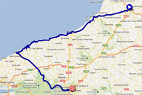 The map with the race route of the fourth stage of the Tour de France 2012 on Google Maps