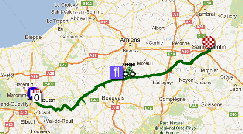The map with the race route of the fifth stage of the Tour de France 2012 on Google Maps