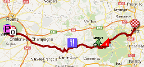 The map with the race route of the sixth stage of the Tour de France 2012 on Google Maps