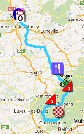 The map with the race route of the seventh stage of the Tour de France 2012 on Google Maps