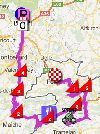 The map with the race route of the eighth stage of the Tour de France 2012 on Google Maps