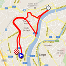 The map of the prologue of the Tour de France 2012 on Google Maps