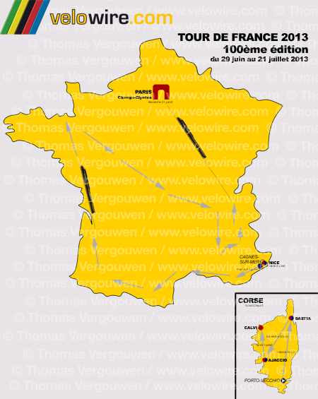 The map with the overall structure of the Tour de France 2013