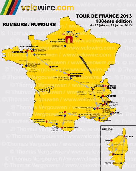 The detailed map with the race route of the Tour de France 2013 based on rumours
