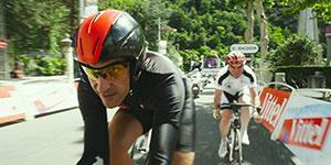 La scène de l'exploit à vélo, avec Bernard Hinault