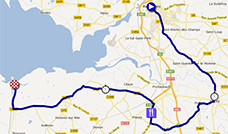 The map with the race route of the eleventh stage of the Tour de France 2013 on Google Maps