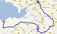 La carte du parcours de la onzième étape du Tour de France 2013 sur Google Maps