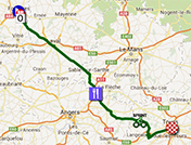 The map with the race route of the twelfth stage of the Tour de France 2013 on Google Maps