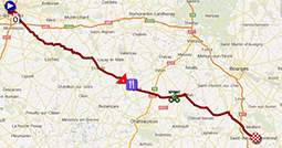 The map with the race route of the thirteenth stage of the Tour de France 2013 on Google Maps