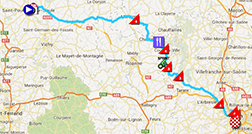The map with the race route of the fourteenth stage of the Tour de France 2013 on Google Maps