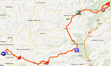 The map with the race route of the sixteenth stage of the Tour de France 2013 on Google Maps