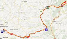 La carte du parcours de la seizième étape du Tour de France 2013 sur Google Maps