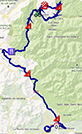 The map with the race route of the eigtheenth stage of the Tour de France 2013 on Google Maps