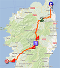 The map with the race route of the second stage of the Tour de France 2013 on Google Maps