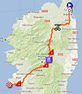 La carte du parcours de la deuxième étape du Tour de France 2013 sur Google Maps