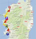 The map with the race route of the third stage of the Tour de France 2013 on Google Maps