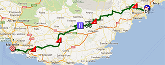 The map with the race route of the fifth stage of the Tour de France 2013 on Google Maps