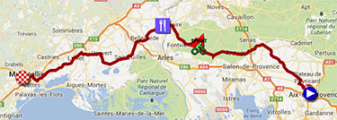 The map with the race route of the sixth stage of the Tour de France 2013 on Google Maps