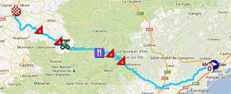 The map with the race route of the seventh stage of the Tour de France 2013 on Google Maps