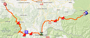 The map with the race route of the nineth stage of the Tour de France 2013 on Google Maps
