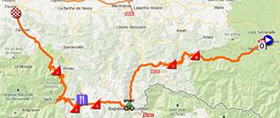 La carte du parcours de la neuvième étape du Tour de France 2013 sur Google Maps