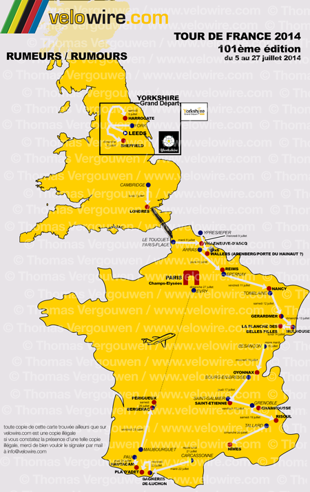 The detailed map of the Tour de France 2014 race route based on rumours