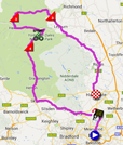 The map with the race route of the first stage of the Tour de France 2014 on Google Maps
