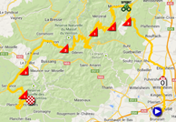 The map with the race route of the tenth stage of the Tour de France 2014 on Google Maps