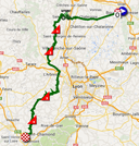 The map with the race route of the twelfth stage of the Tour de France 2014 on Google Maps