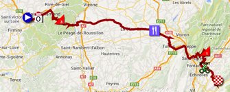 The map with the race route of the thirteenth stage of the Tour de France 2014 on Google Maps