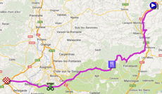 The map with the race route of the fifteenth stage of the Tour de France 2014 on Google Maps