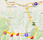 The map with the race route of the seventeenth stage of the Tour de France 2014 on Google Maps