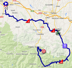 The map with the race route of the eighteenth stage of the Tour de France 2014 on Google Maps