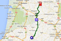 The map with the race route of the nineteenth stage of the Tour de France 2014 on Google Maps
