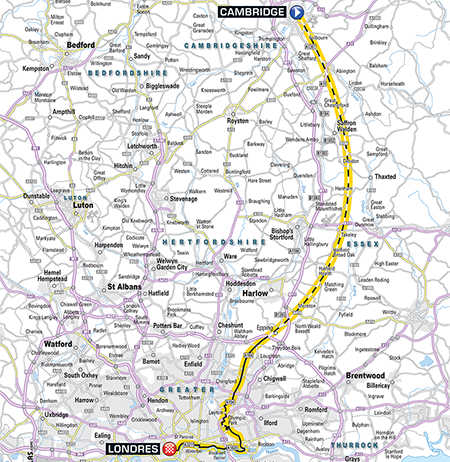 The map of the 3rd stage of the Tour de France 2014