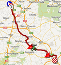 The map with the race route of the sixth stage of the Tour de France 2014 on Google Maps