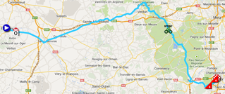 The map with the race route of the seventh stage of the Tour de France 2014 on Google Maps