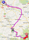 The map with the race route of the eighth stage of the Tour de France 2014 on Google Maps