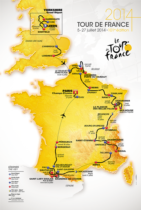 The official map of the Tour de France 2014