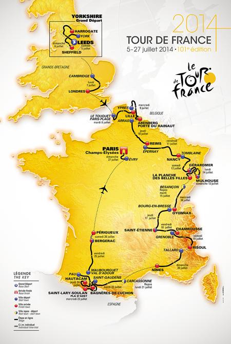 La carte officielle du Tour de France 2014