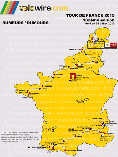 The detailed map with the Tour de France 2015 race route based on rumours