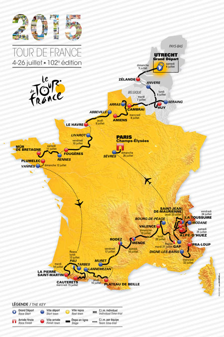 La carte officielle du Tour de France 2015
