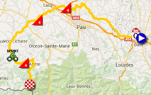 The map with the race route of the tenth stage of the Tour de France 2015 on Google Maps